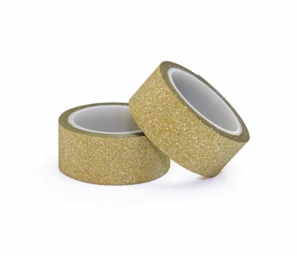 Galeria Papieru třpytivá páska samolepicí zlatá 2ks 15mm x 3 bm