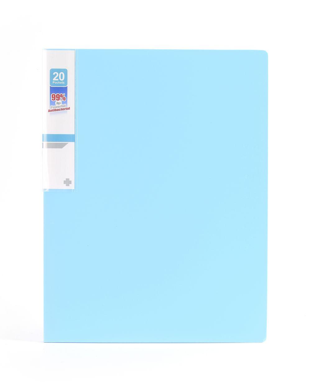 Desky na spisy ANTIBAKTERIÁLNÍ A4 bledě modrá 20 kapes