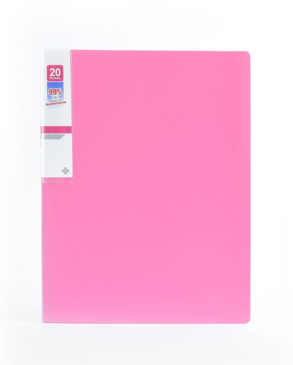Desky na spisy ANTIBAKTERIÁLNÍ A4 růžová 20 kapes