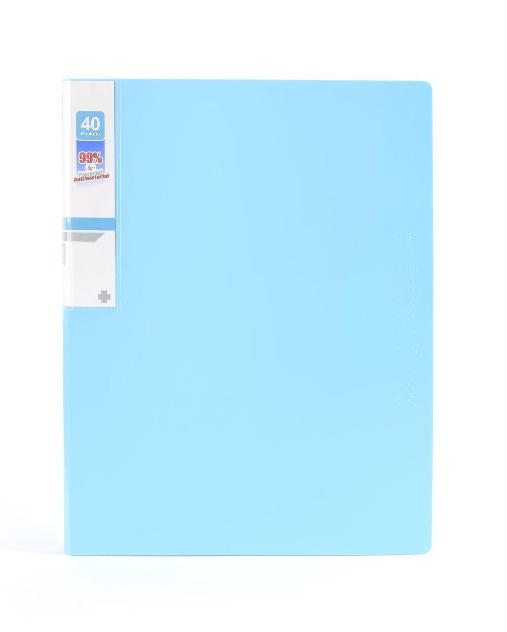 Desky na spisy ANTIBAKTERIÁLNÍ A4 bledě modrá 40 kapes