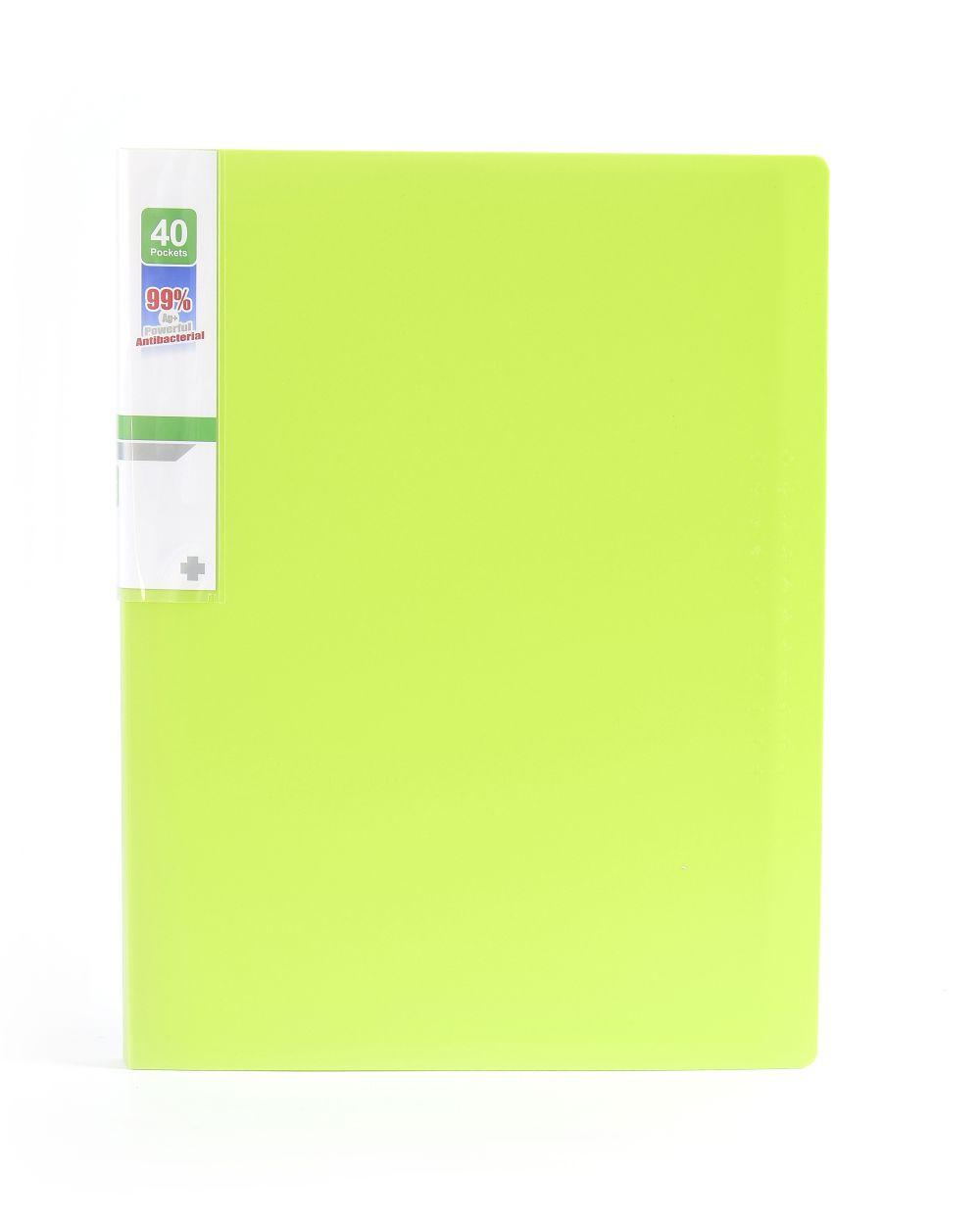 Desky na spisy ANTIBAKTERIÁLNÍ A4 zelená 40 kapes