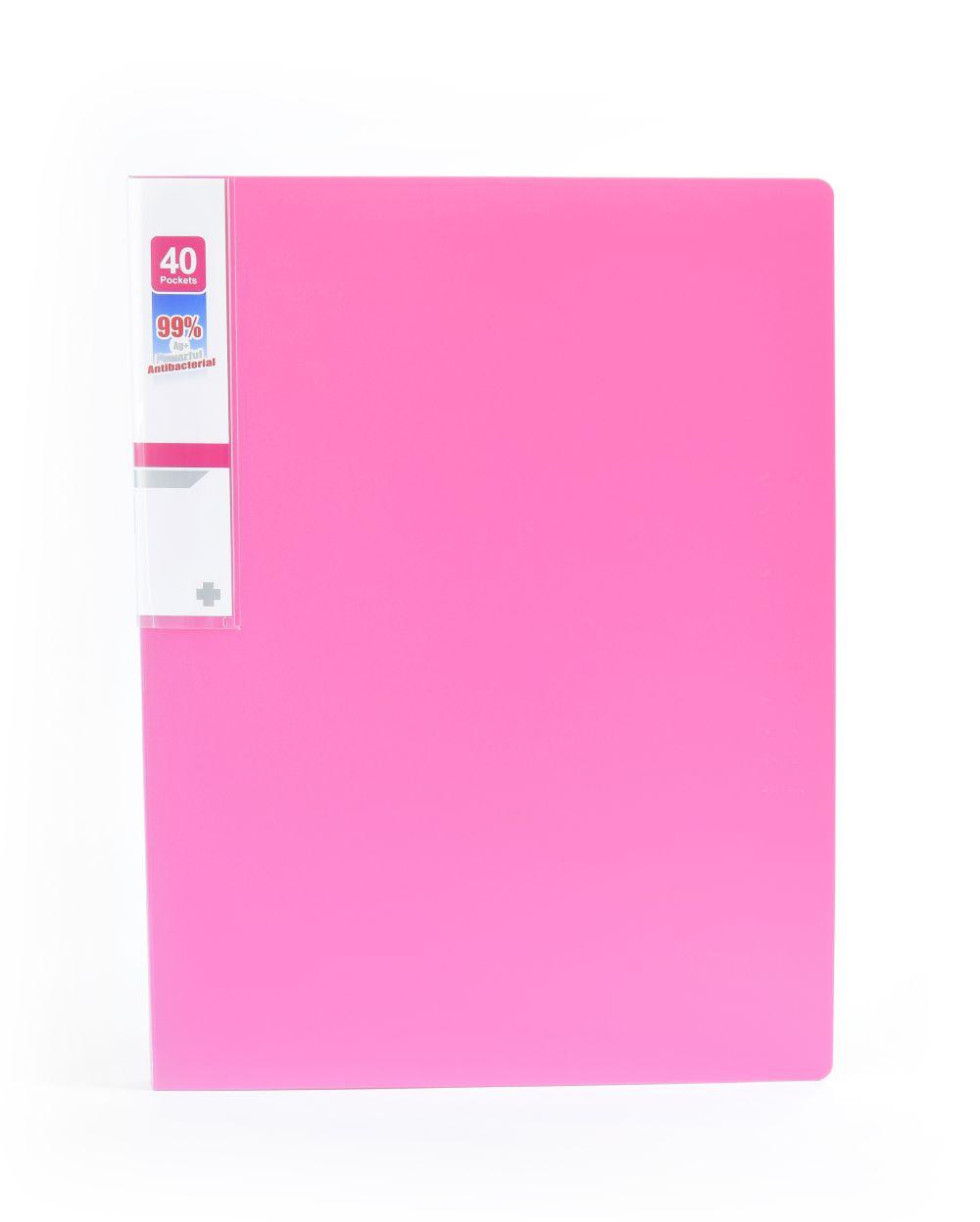Desky na spisy ANTIBAKTERIÁLNÍ A4 růžová 40 kapes