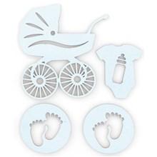 Dřevěné výřezy samolepicí Baby bledě modrá, 4ks