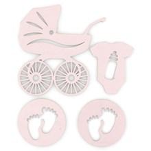 Dřevěné výřezy samolepicí Baby růžová, 4ks