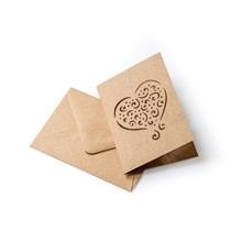 Galeria Papieru přání srdce s obálkou Kraft 70x100mm, 5ks