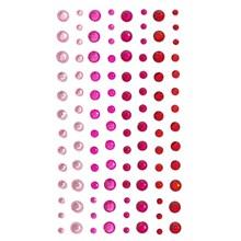 Samolepicí kamínky červená 3//4/5/6mm, 104ks
