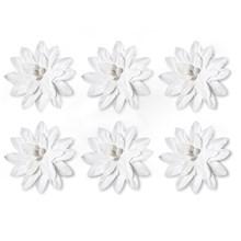 Papírové květiny samolepicí Dalia bílá, 6ks