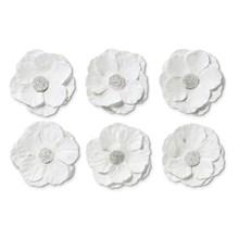 Papírové květiny samolepicí Clematis bílá, 6ks