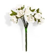 Papírové květiny na drátku Růže ivory, 12ks