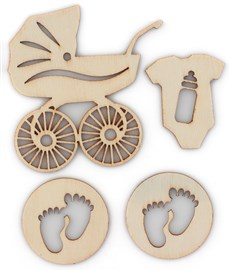 Dřevěné výřezy samolepicí Baby přírodní, 4ks