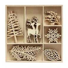 Dřevěné výřezy Zimní příroda, 30ks