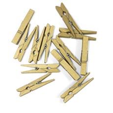 Kolíčky dřevěné zlatá 47mm, 12ks