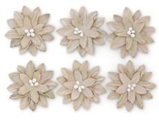 Papírové květiny samolepicí Dalia béžová, 6ks