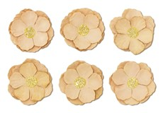 Papírové květiny samolepicí Clematis béžová, 6ks