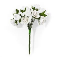 Papírové květiny na drátku Růže bílá, 12ks